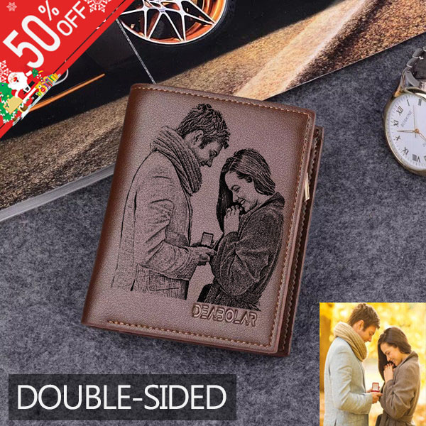 Personalized Double Sided Photo Leather Men's Trifold Vertical Wallet