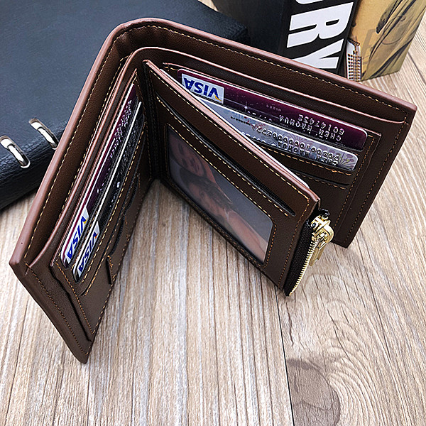 Photo Genuine Leather Men's Trifold Wallet