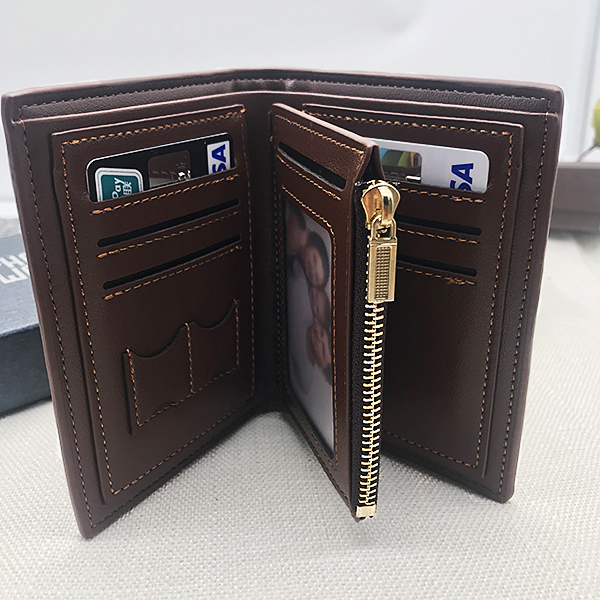 Double Sided Photo Men's Trifold Vertical Wallet