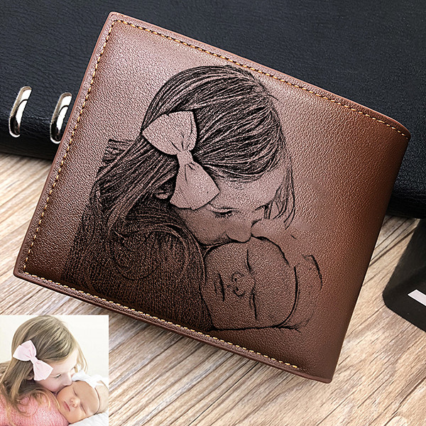 Double-Sided Photo Leather Men's Trifold Wallet