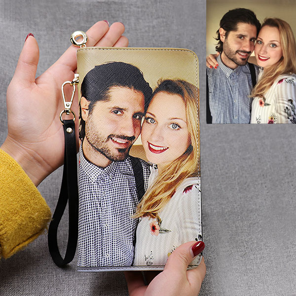 Personalized Photo Genuine Leather Purse - Large