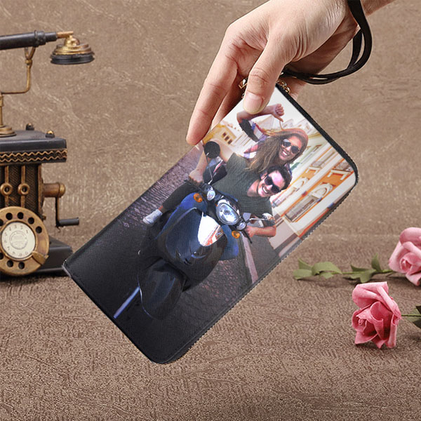 Personalized Photo Leather Wallet - Large